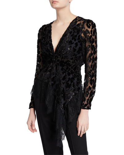 Twisted Metallic Peplum Top with Lace