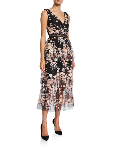 a26d5c5f3 Sleeveless Midnight Floral Mesh Dress