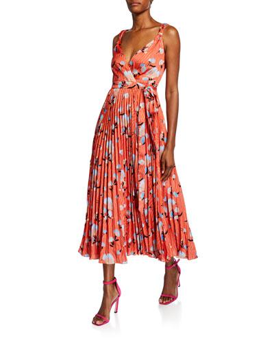 Sleeveless Botanical-Print Pleated Wrap Dress