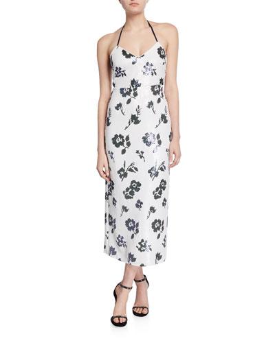 Sleeveless Floral Sequined Midi Dress