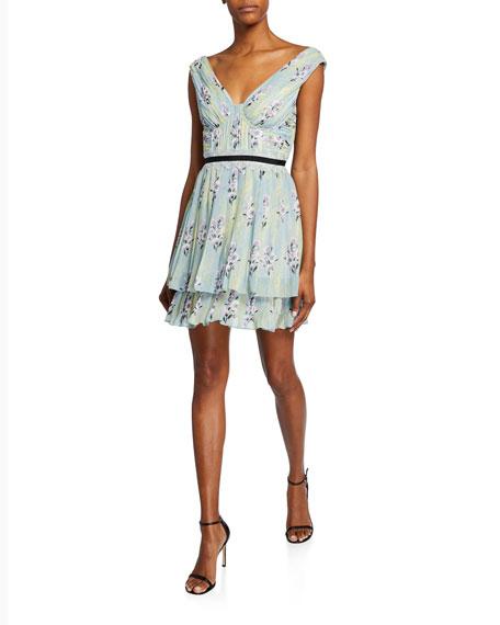 Floral-Print Chiffon Pleated Ruffle Dress