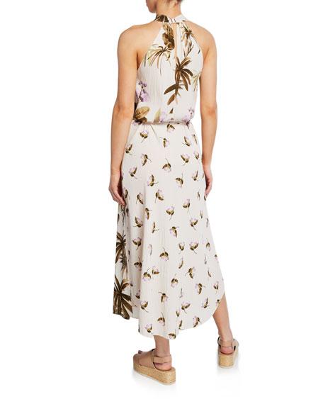 Mixed Tropical Garden Halter Maxi Dress