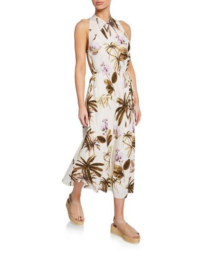 1e828549 Mixed Tropical Garden Halter Maxi Dress