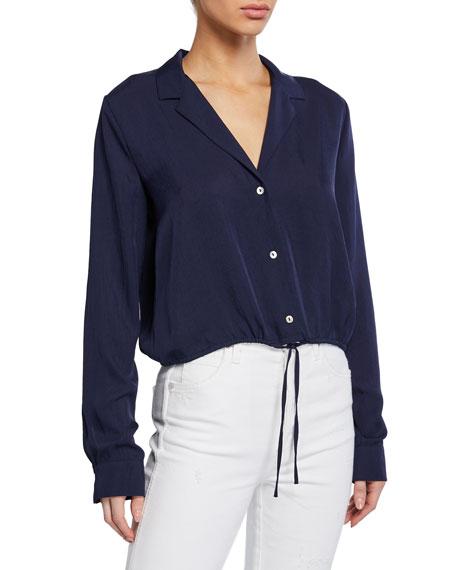 Button-Front Long-Sleeve Drawstring Crop Shirt