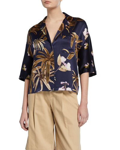 Mixed Tropical Garden Button-Front Satin PJ Shirt