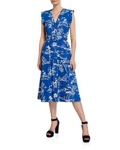 Abigail Printed V-Neck Sleeveless Belted Dress