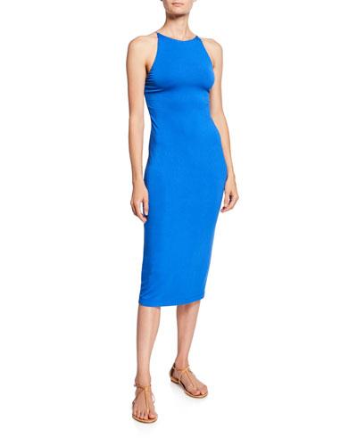 Delora Spaghetti Strap Fitted Midi Dress