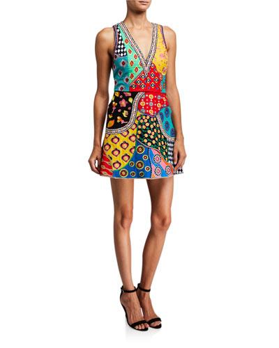 bbed54e6d Tennie Embellished Patchwork V-Neck Mini Dress Quick Look. Alice + Olivia