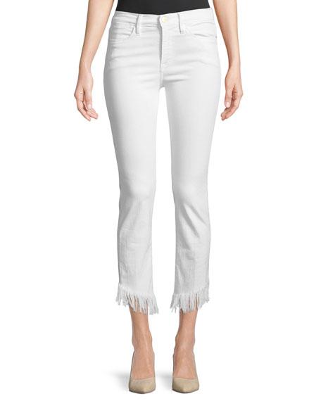 Le High Skinny Jeans w/ Shredded Raw Hem