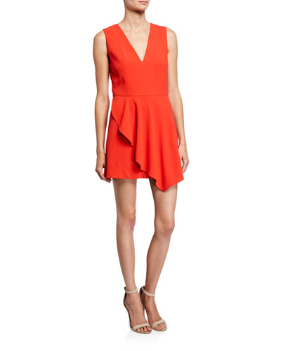 Callie V-Neck Sleeveless Asymmetric Drape Short Dress