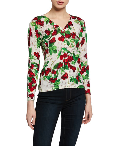 Charlotte Cherry Blossom 3/4-Sleeve Cashmere Cardigan