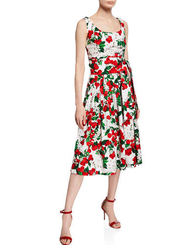 Florence Cherry Blossom Scoop-Neck Sleeveless Dress
