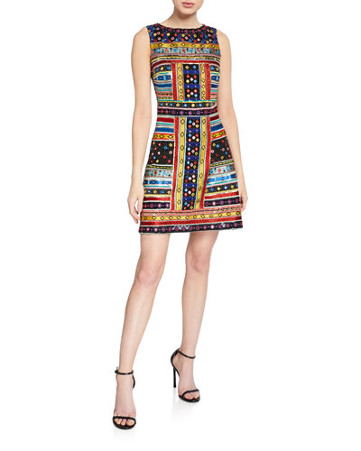 Nat Embroidered Crewneck Sleeveless Fitted Dress