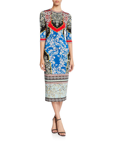 Delora Printed Crewneck 3/4-Sleeve Fitted Midi Dress