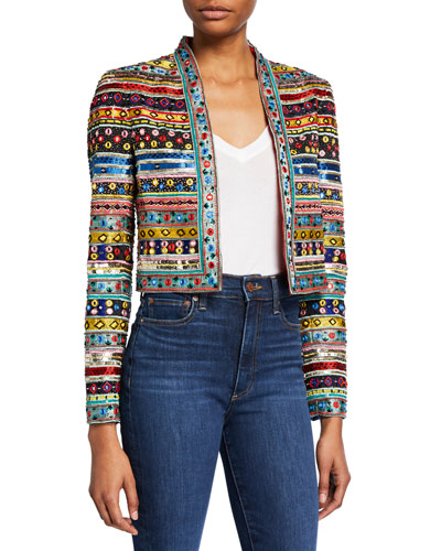 05ff4828f76a6 New Harvey Embellished Open-Front Jacket Quick Look. Alice + Olivia