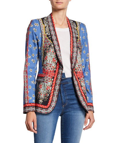 Macey Fitted Strong-Shoulder Patchwork Blazer