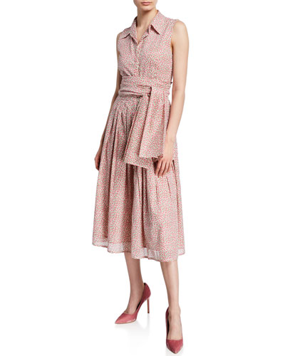 Audrey Rose Bud Button-Down Sleeveless Shirtdress