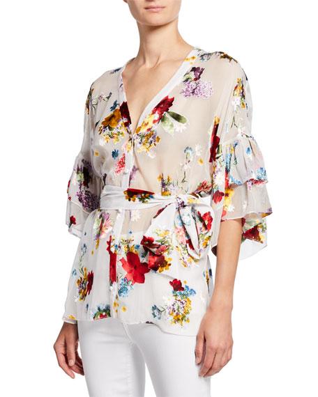 Rosario Floral Tie-Waist Ruffle-Sleeve Kimono Top