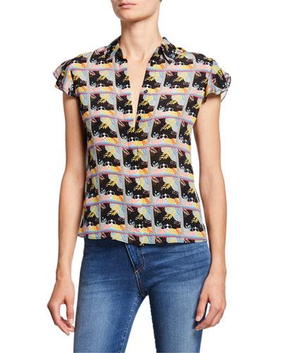 Willa Printed Flutter-Sleeve Silk Placket Top