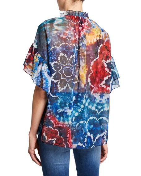 Julius Tie-Dye Ruffle-Sleeve Tunic Top