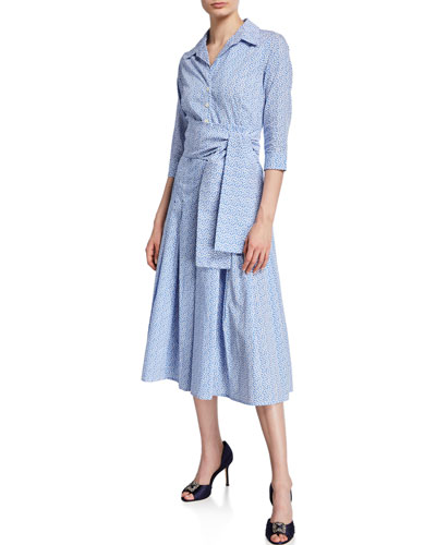 Zeller Mini Leaves Collared 3/4-Sleeve Dress