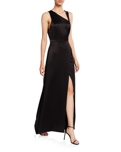 0c453454211d4 Promotion Pamela Leather Combo High-Slit Gown Quick Look. Alice + Olivia