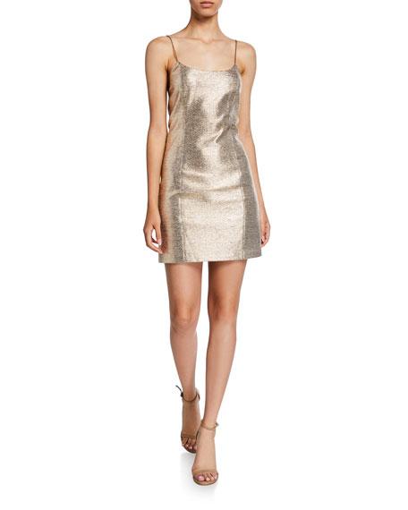 Nelle Metallic Spaghetti-Strap Mini Dress