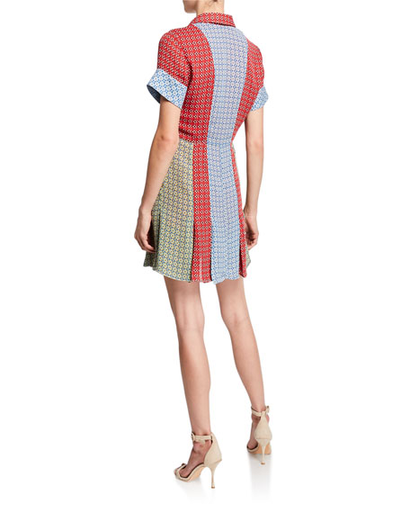 Abelia V-Neck Button-Down Mini Shirtdress