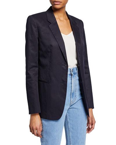Resin Cotton Twill Two-Button Blazer