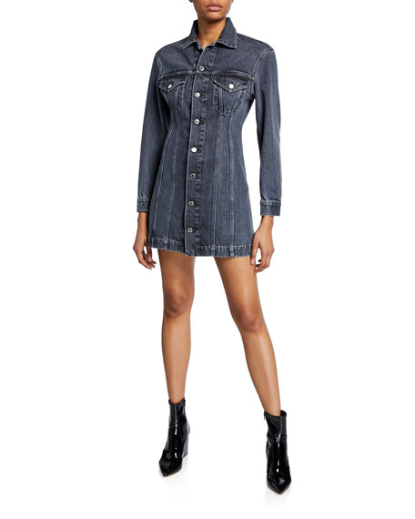 Helmut Lang Dresses Femme Button-Front Long-Sleeve Mini Denim Dress, BLUE