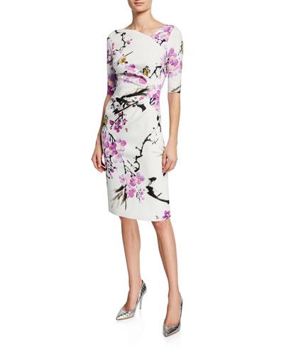Floral Elbow-Sleeve Scuba Sheath Dress