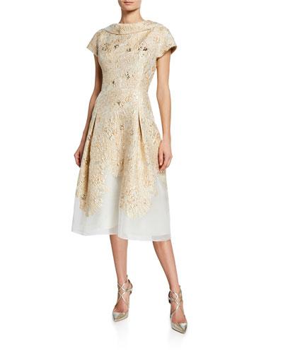 Metallic Jacquard Drop-Band Short-Sleeve Cocktail Dress