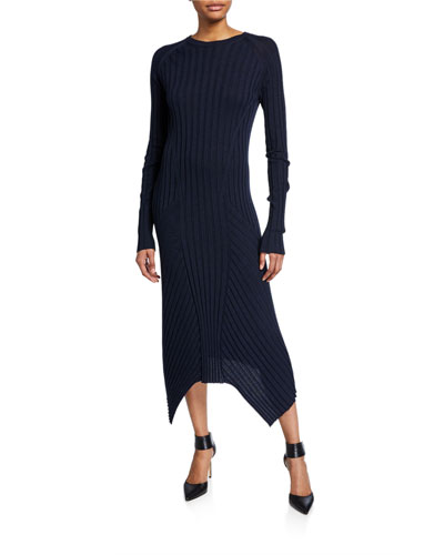 Long-Sleeve Fine Wool Rib Dress
