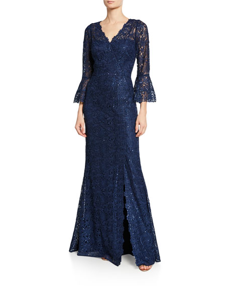 Rickie Freeman For Teri Jon Tops V-NECK TRUMPET-SLEEVE EMBELLISHED LACE GOWN W/ SLIT