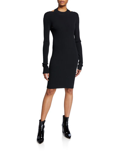 Open-Back Long-Sleeve Ribbed Dress