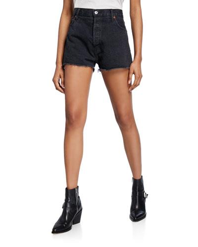 High-Rise Frayed-Edge Denim Shorts