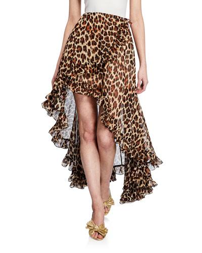 Adelle Leopard-Print High-Low Tulip Skirt