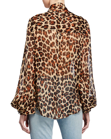 Bette Leopard-Print Twist-Front Blouson-Sleeve Top