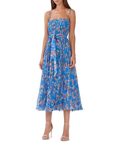 931d43cb164 Capri Floral-Print Pleated Sleeveless Tie-Waist Midi Dress Quick Look. ML  Monique Lhuillier