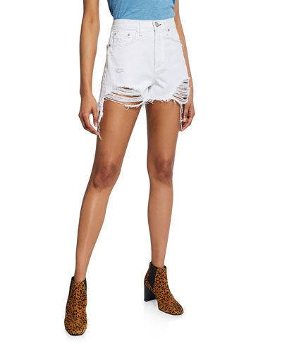 Maya High-Rise Distressed Shorts