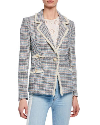 Aba Tweed Single-Button Jacket