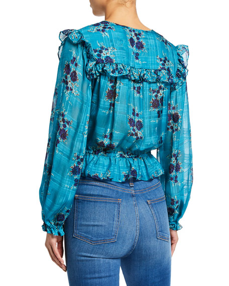 Kelly Floral-Print Long-Sleeve Ruffle Blouse