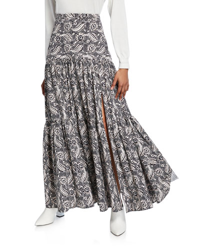Serence Printed Slit Maxi Skirt