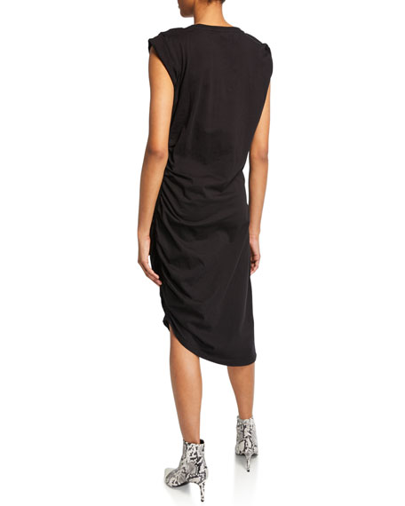 Denali Ruched Cap-Sleeve Dress