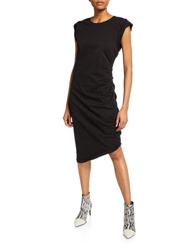 Denali Ruched Cap-Sleeve Dress