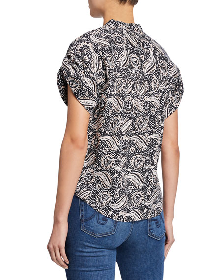 Sanaa Printed Roll-Sleeve Shirt