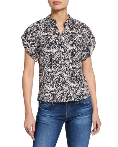 Sanaa Printed Roll-Sleeve Shirt
