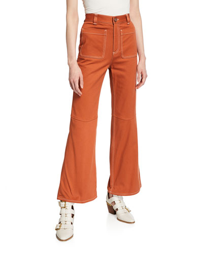 High-Rise Cropped Flare Pants w/ Contrast Stitching