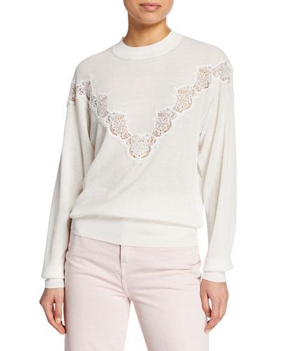Ribbed Lace Crewneck Sweater