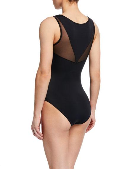 Miranda High-Neck Mesh One-Piece Swimsuit